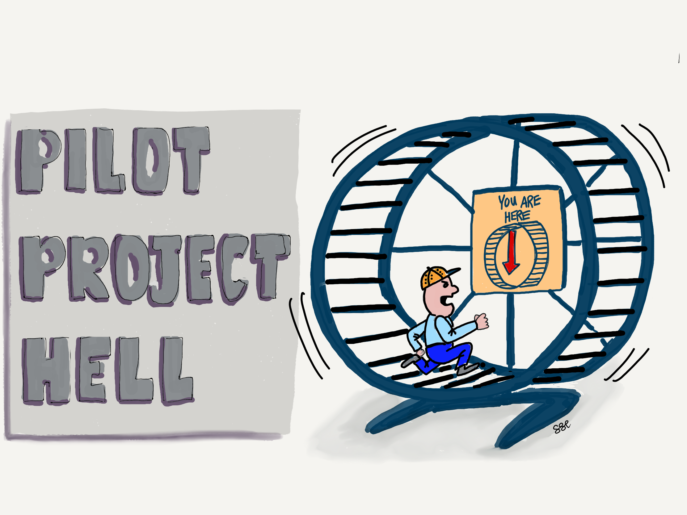 Project manager running in a mouse wheel