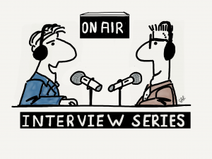 Two guys recording a podcast interview