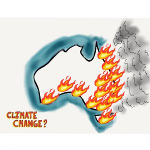 cartoon image of Australia on fire