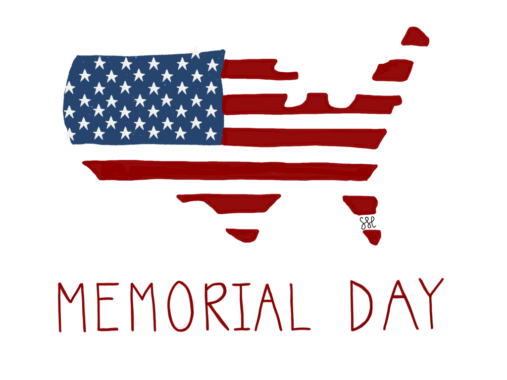 STYLISED FLAG OF USA CAPTION MEMORIAL DAY