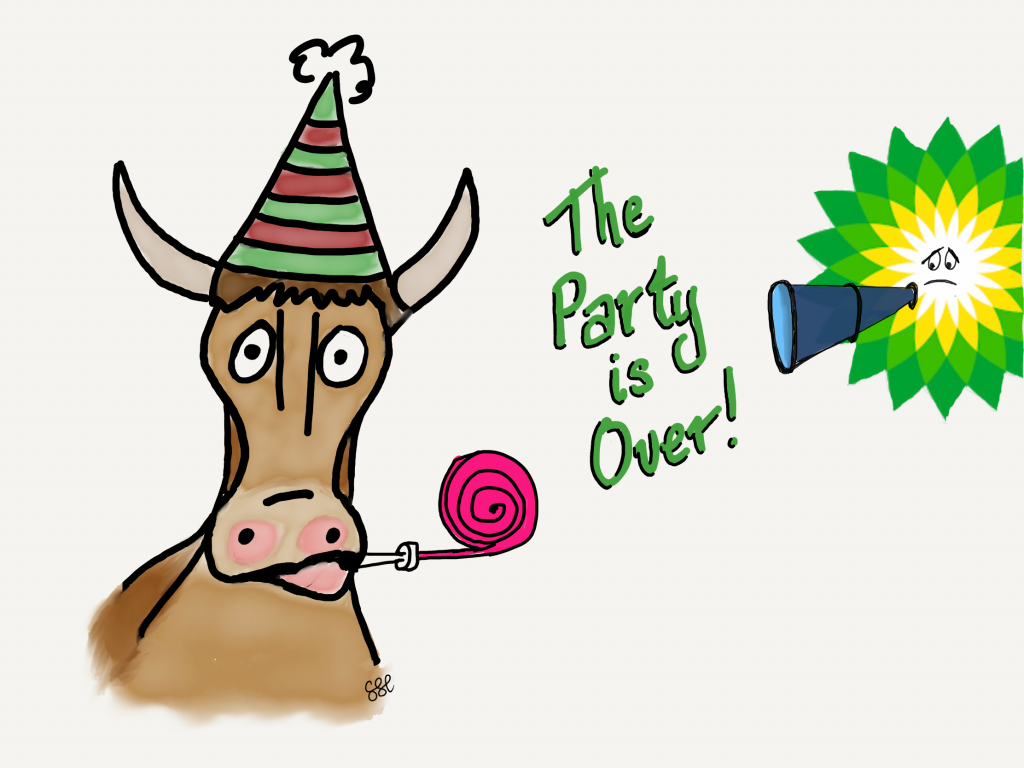 BP tells oil bull that the party is over cartoon