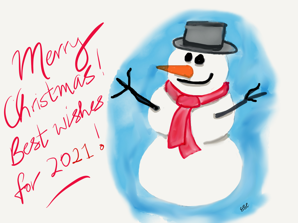 Snow man wishes you a Merry Christmas