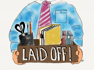 Cartoon image of guy laid off from Oil and gas job