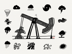 Oil well surrounded by threatening weather symbols