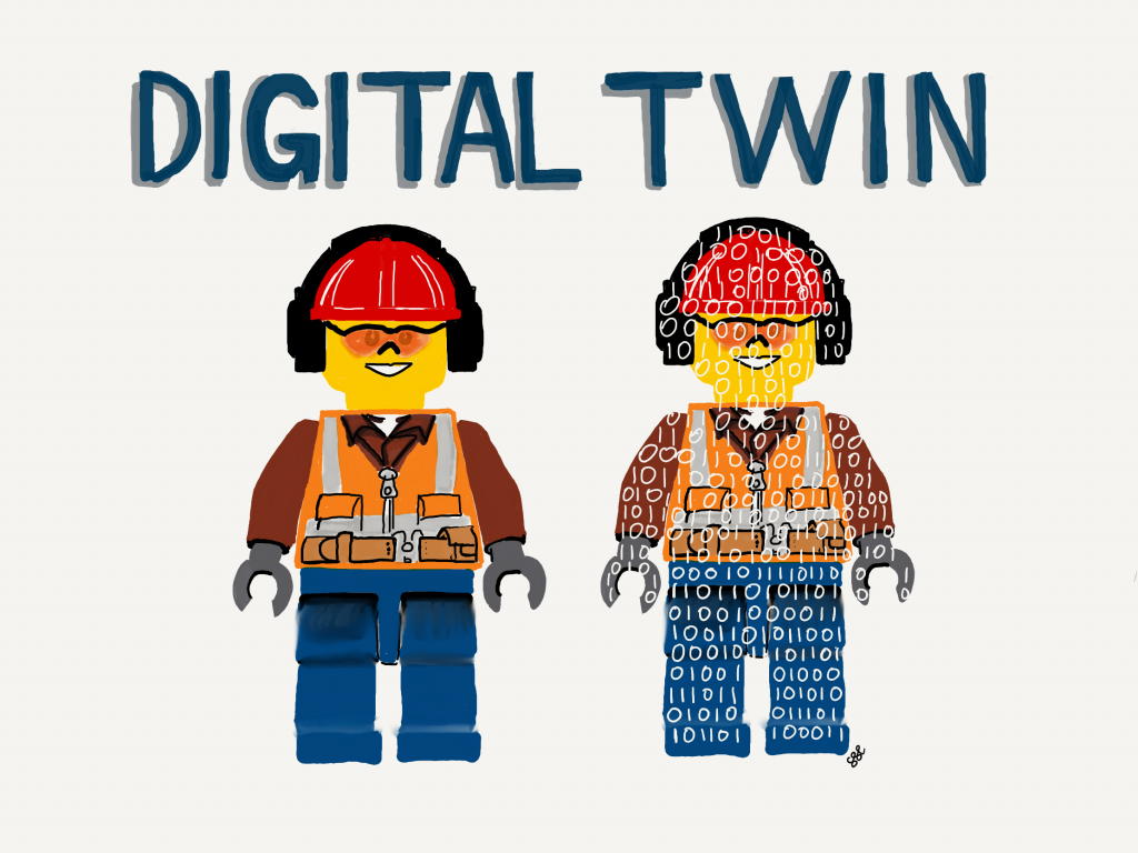 Cartoon lego men digital twin