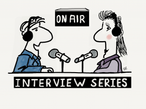 Man and woman interviewing