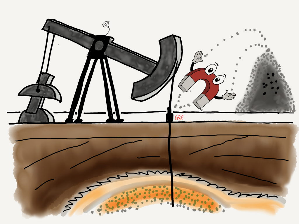 Oil field pump with magnet extracting contaminants